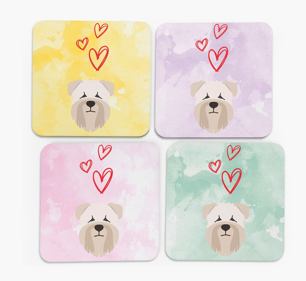 Heart Design with Soft Coated Wheaten Terrier Icon Coasters in Set of 4
