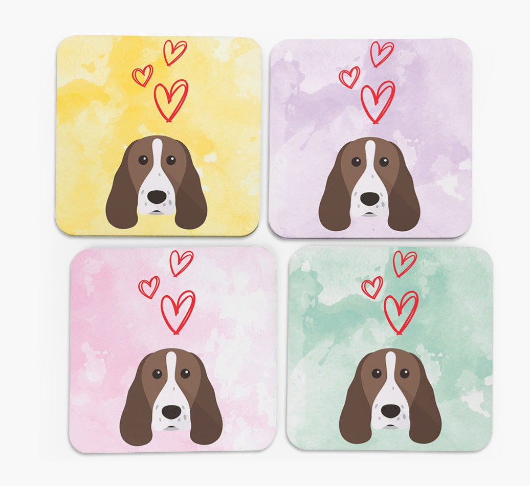 Heart Design with Springer Spaniel Icon Coasters in Set of 4