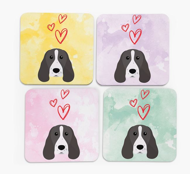 Heart Design with Springer Spaniel Icon Coasters - Set of 4