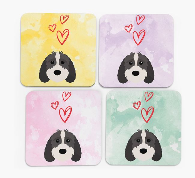 Heart Design with Sproodle Icon Coasters - Set of 4