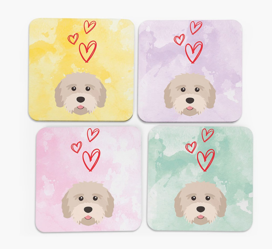 Heart Design with Tibetan Terrier Icon Coasters in Set of 4