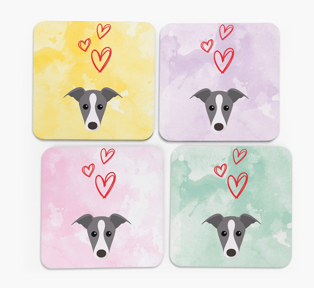 Heart Design with Whippet Icon Coasters in Set of 4