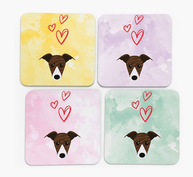 Heart Design with Whippet Icon Coasters - Set of 4