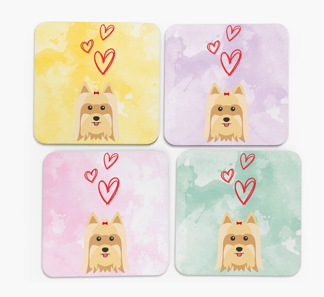 Heart Design with Yorkshire Terrier Icon Coasters in Set of 4