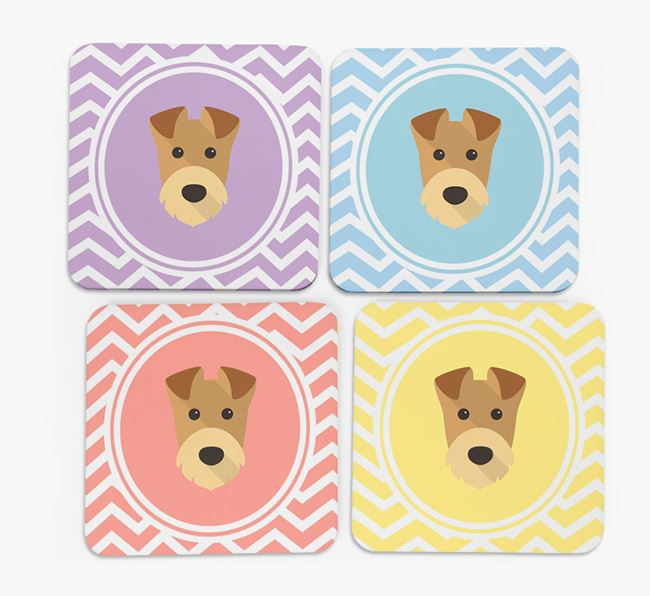 Zig Zag Design with Airedale Terrier Icon Coasters - Set of 4