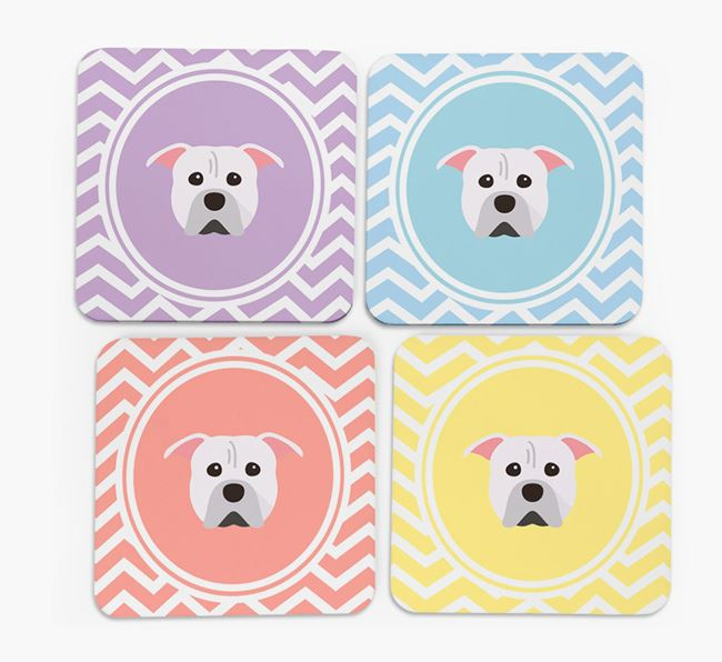 Zig Zag Design with American Pit Bull Terrier Icon Coasters - Set of 4