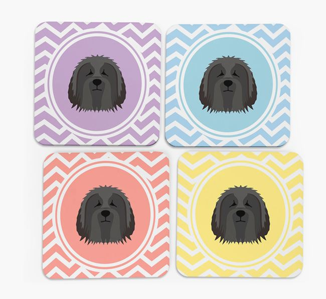 Zig Zag Design with Bearded Collie Icon Coasters - Set of 4