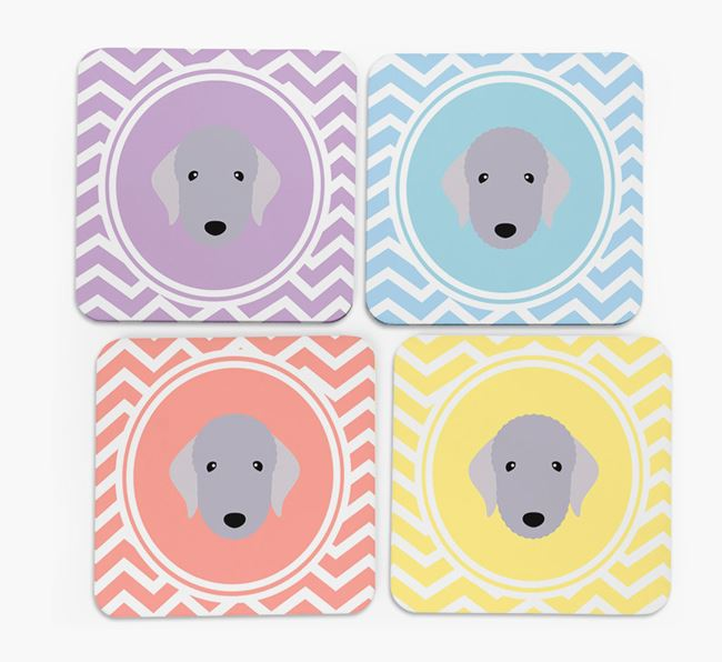 Zig Zag Design with Bedlington Terrier Icon Coasters - Set of 4