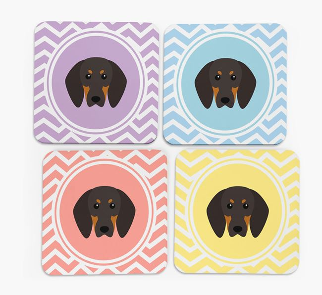 Zig Zag Design with Black and Tan Coonhound Icon Coasters - Set of 4