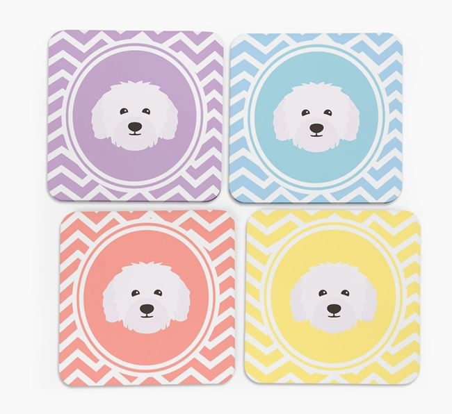 Zig Zag Design with Bolognese Icon Coasters - Set of 4