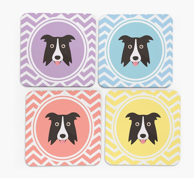 Zig Zag Design with Border Collie Icon Coasters - Set of 4