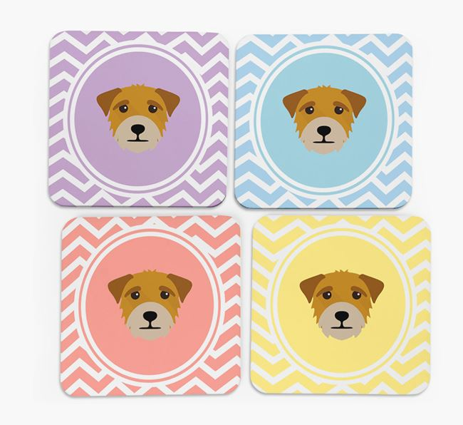 Zig Zag Design with Border Terrier Icon Coasters - Set of 4