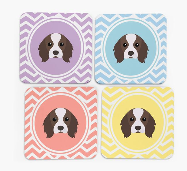 Zig Zag Design with Cavalier King Charles Spaniel Icon Coasters - Set of 4