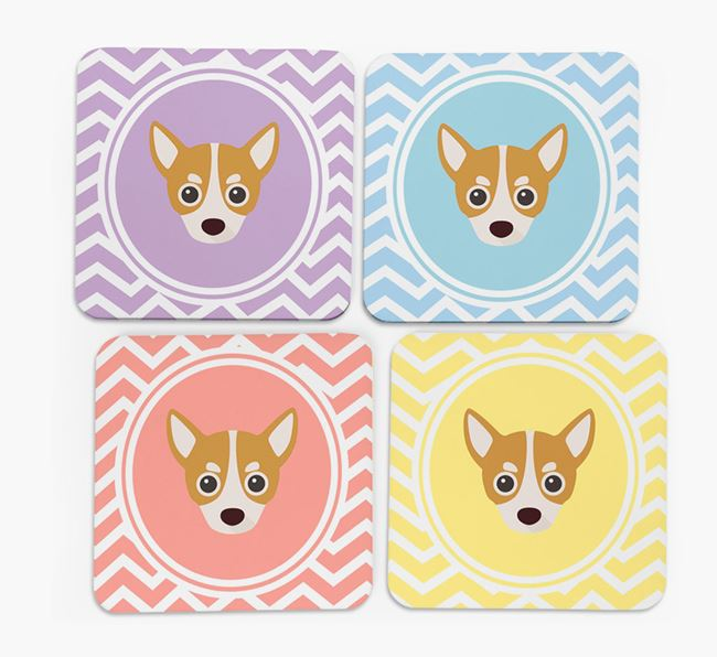 Zig Zag Design with Chihuahua Icon Coasters - Set of 4