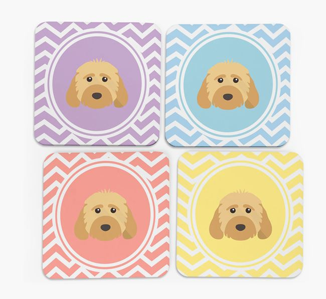 Zig Zag Design with Dog Icon Coasters - Set of 4