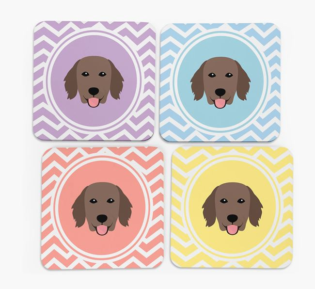 Zig Zag Design with Flat-Coated Retriever Icon Coasters - Set of 4