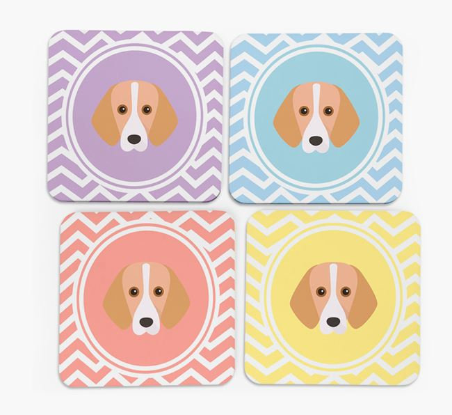 Zig Zag Design with Foxhound Icon Coasters - Set of 4
