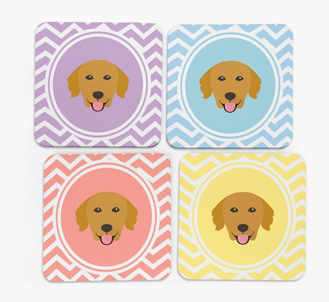 Zig Zag Design with Golden Retriever Icon Coasters - Set of 4