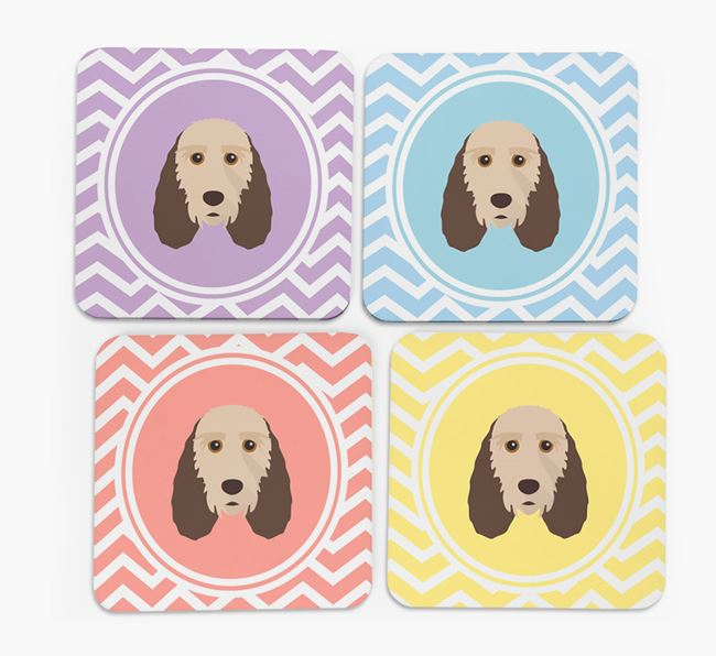Zig Zag Design with Grand Basset Griffon Vendeen Icon Coasters - Set of 4