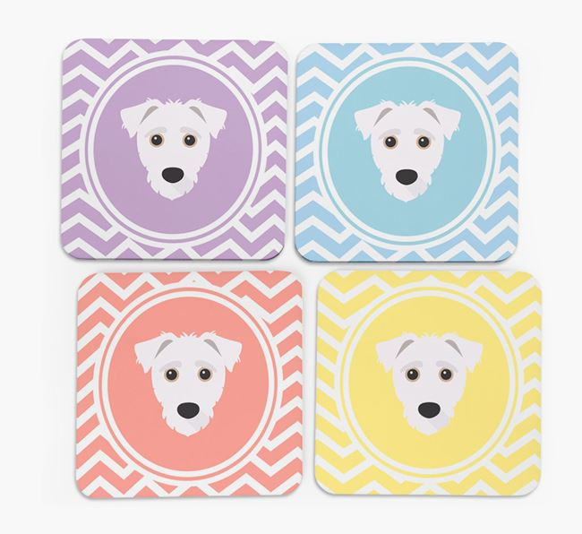 Zig Zag Design with Jack-A-Poo Icon Coasters - Set of 4