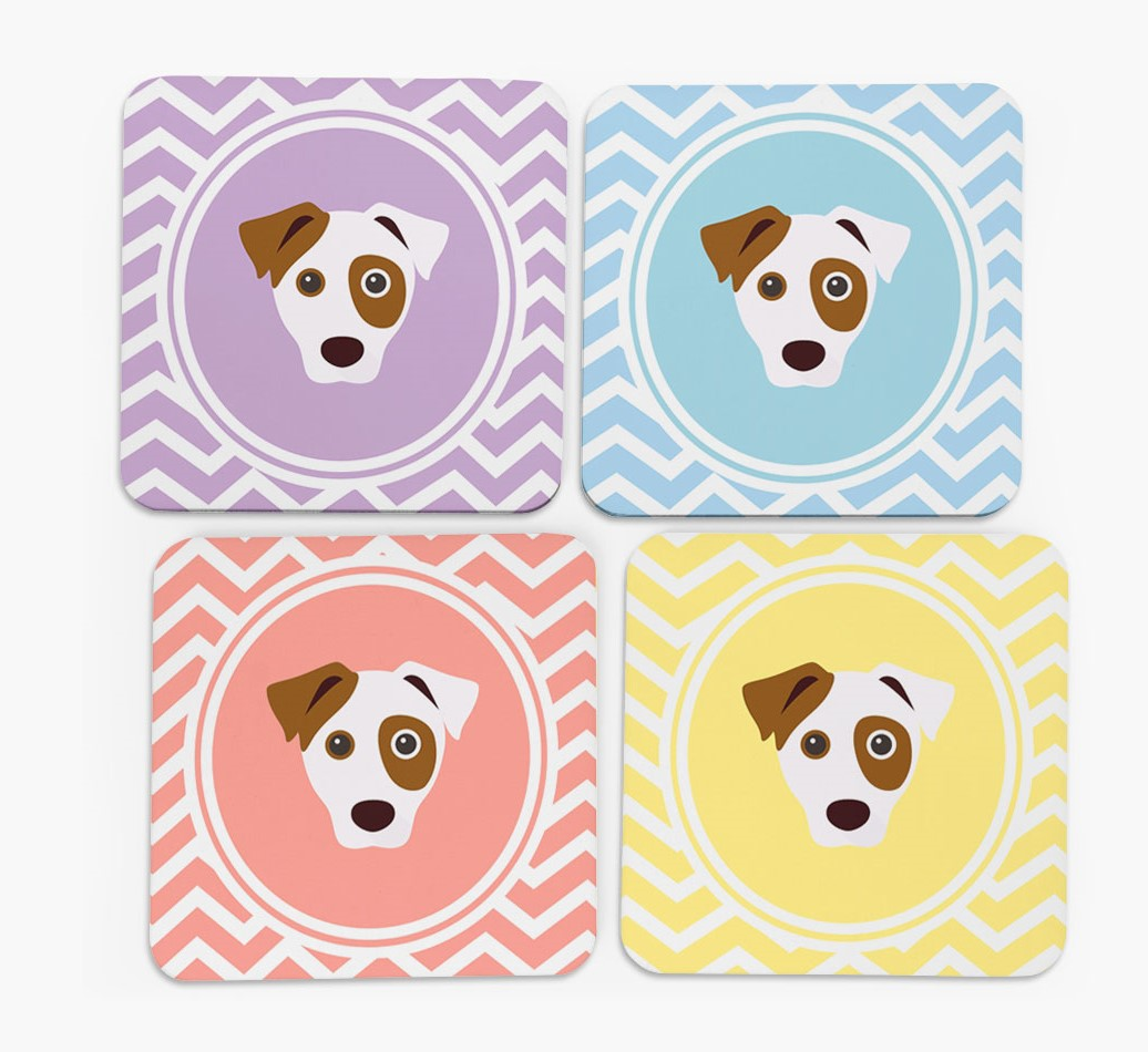 Zig Zag Design with Dog Icon Coasters in Set of 4