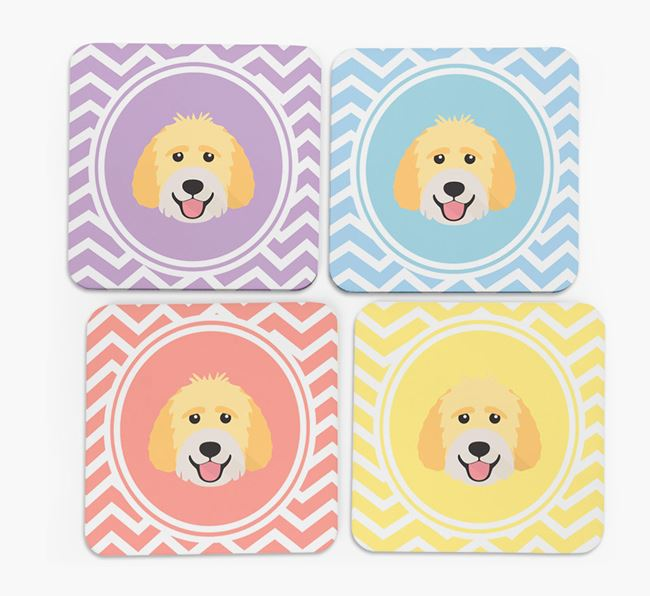 Zig Zag Design with Labradoodle Icon Coasters - Set of 4