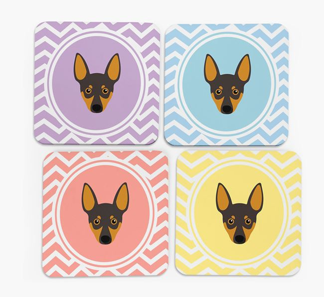 Zig Zag Design with Miniature Pinscher Icon Coasters - Set of 4