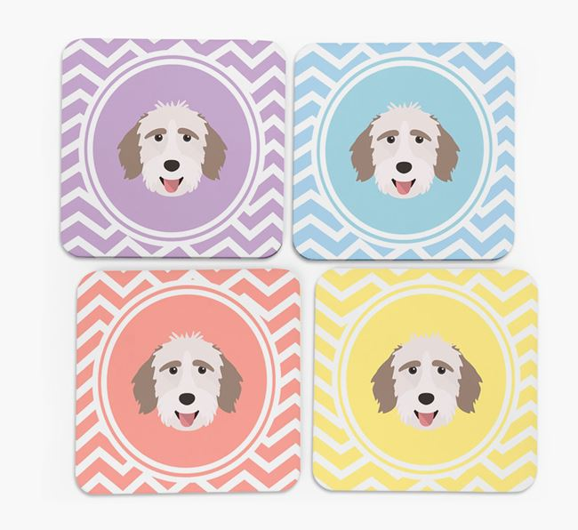 Zig Zag Design with Mixed Breed Icon Coasters - Set of 4