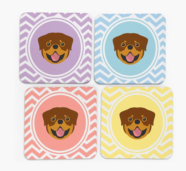 Zig Zag Design with Rottweiler Icon Coasters - Set of 4