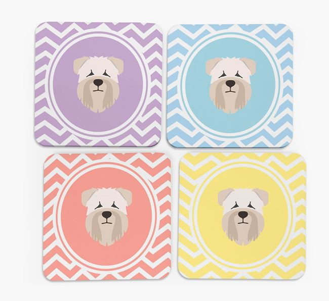 Zig Zag Design with Soft Coated Wheaten Terrier Icon Coasters - Set of 4