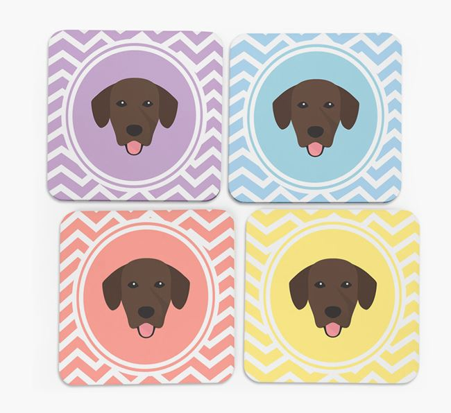 Zig Zag Design with Springador Icon Coasters - Set of 4