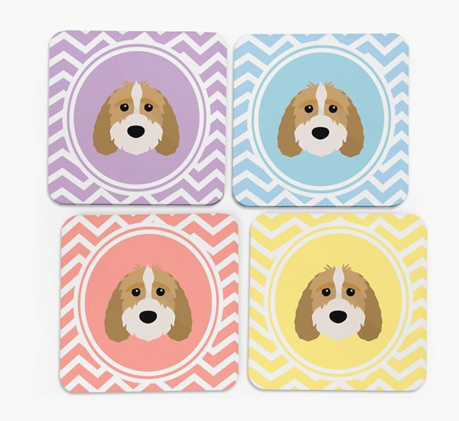 Zig Zag Design with Sproodle Icon Coasters - Set of 4