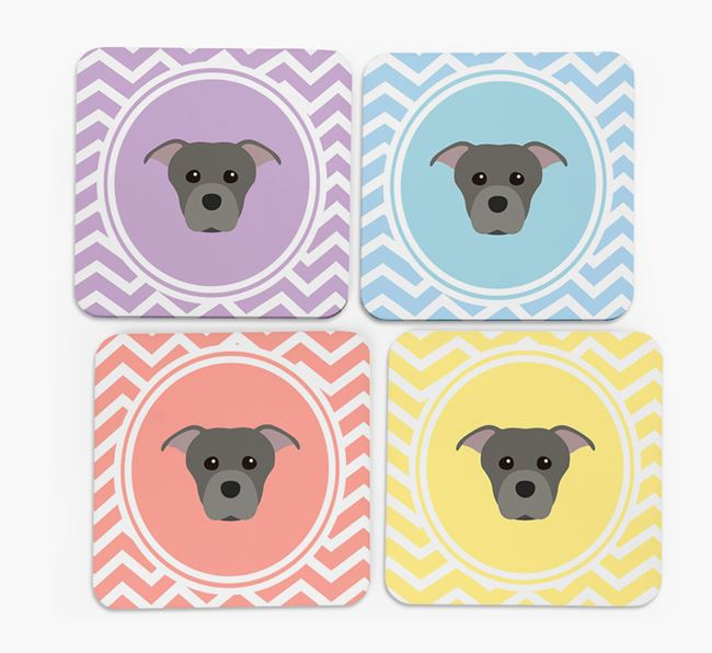 Zig Zag Design with Staffordshire Bull Terrier Icon Coasters - Set of 4