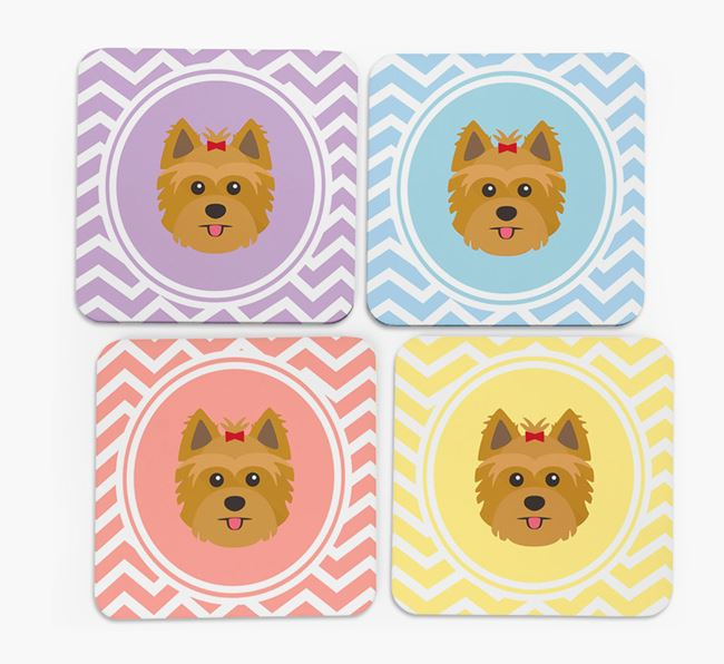 Zig Zag Design with Yorkshire Terrier Icon Coasters - Set of 4