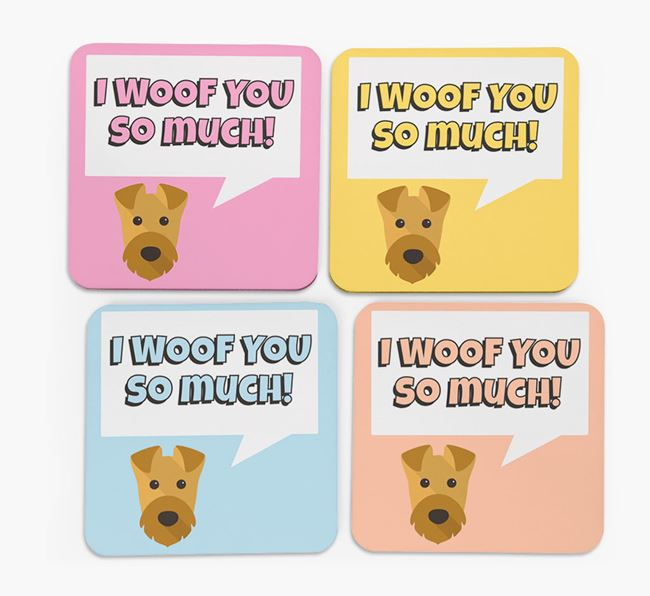 'I Woof You So Much' Design with Airedale Terrier Icon Coasters - Set of 4