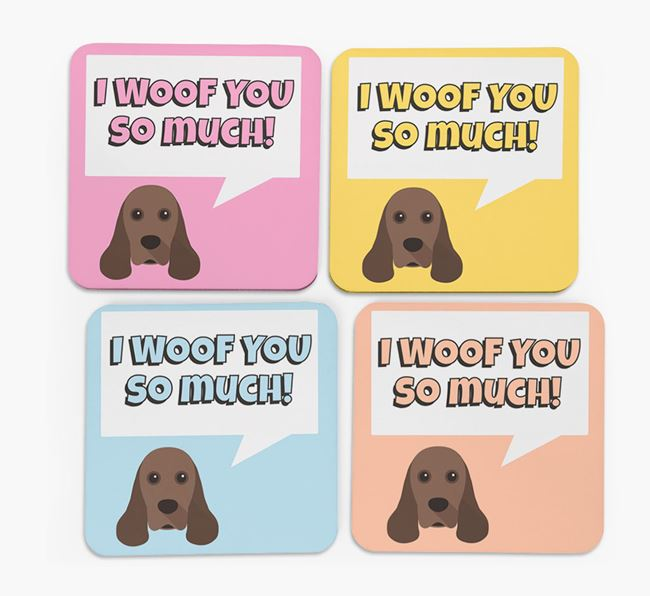 'I Woof You So Much' Design with American Cocker Spaniel Icon Coasters - Set of 4