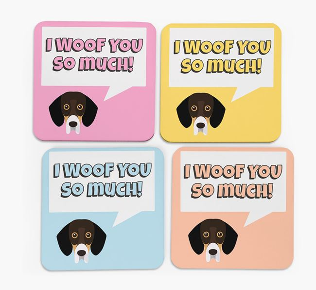 'I Woof You So Much' Design with Bassador Icon Coasters - Set of 4