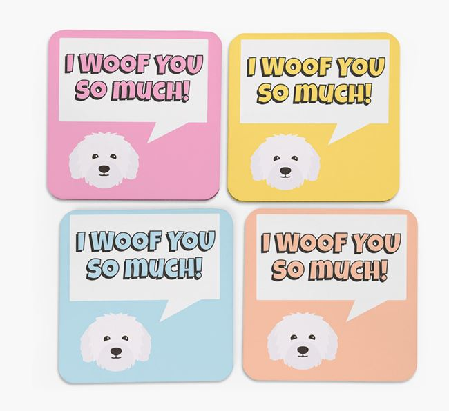 'I Woof You So Much' Design with Bolognese Icon Coasters - Set of 4