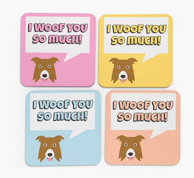 'I Woof You So Much' Design with Border Collie Icon Coasters - Set of 4