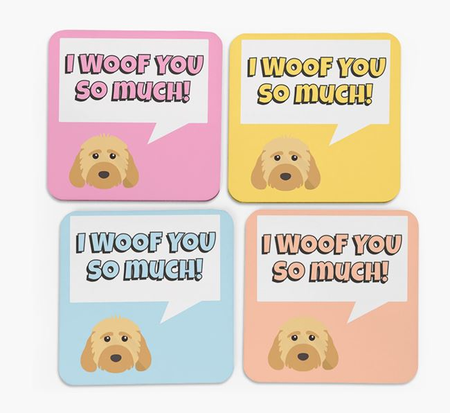'I Woof You So Much' Design with Dog Icon Coasters - Set of 4
