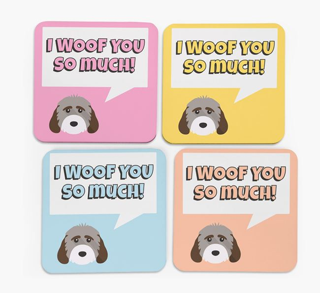 'I Woof You So Much' Design with Cockapoo Icon Coasters - Set of 4