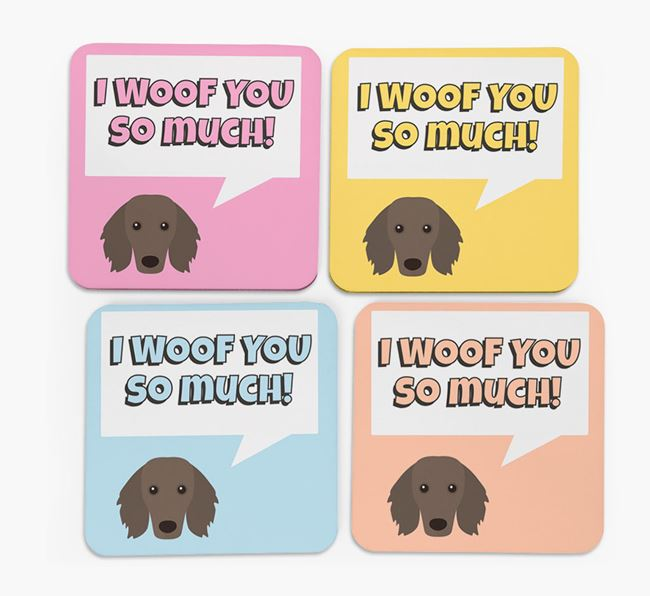'I Woof You So Much' Design with Dachshund Icon Coasters - Set of 4