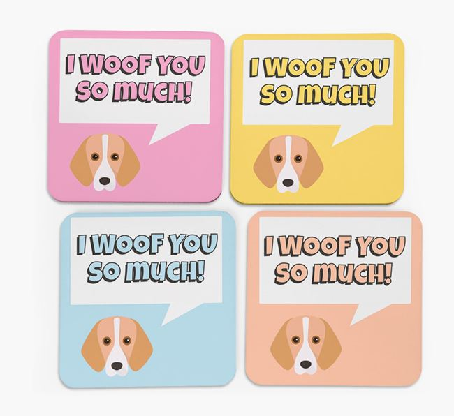 'I Woof You So Much' Design with Foxhound Icon Coasters - Set of 4