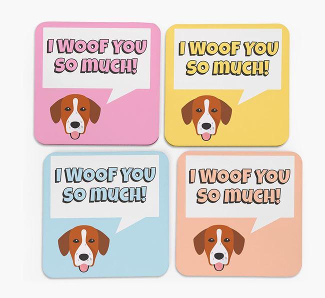 'I Woof You So Much' Design with Springador Icon Coasters - Set of 4