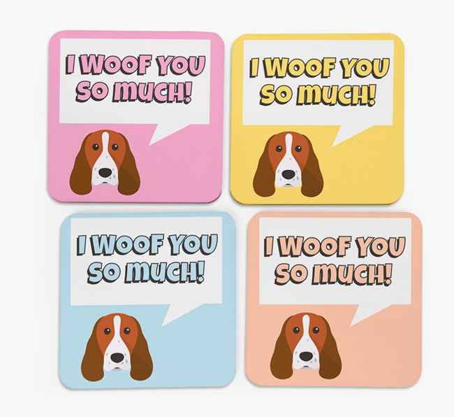 'I Woof You So Much' Design with Springer Spaniel Icon Coasters - Set of 4