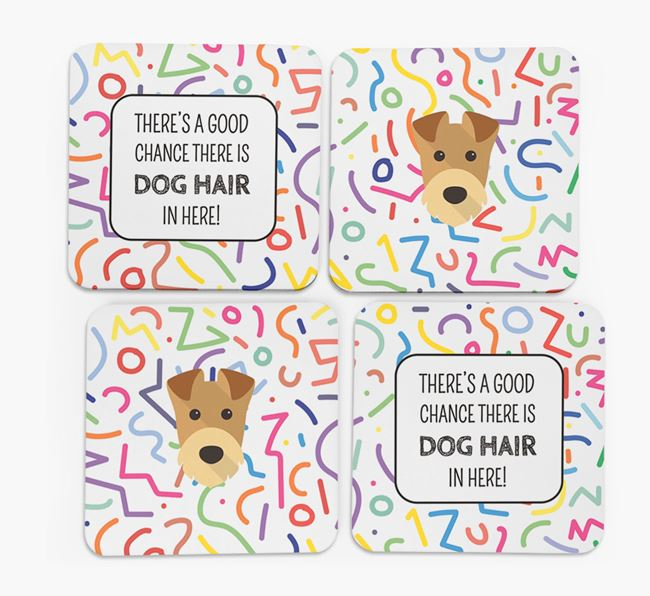 'Chance of Dog Hair' Coasters with Airedale Terrier icon