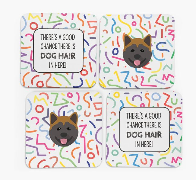 'Chance of Dog Hair' Coasters with Akita icon