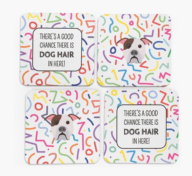'Chance of Dog Hair' Coasters with American Bulldog icon