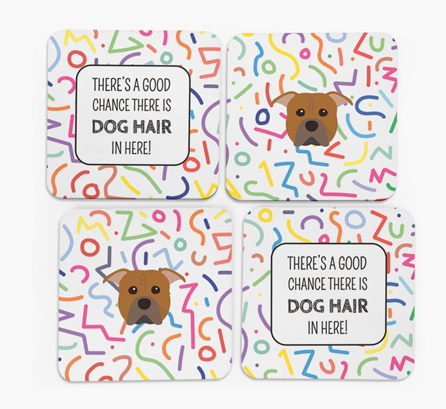 'Chance of Dog Hair' Coasters with American Pit Bull Terrier icon