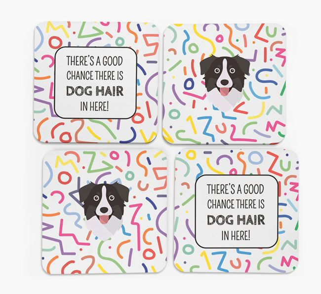 'Chance of Dog Hair' Coasters with Australian Shepherd icon